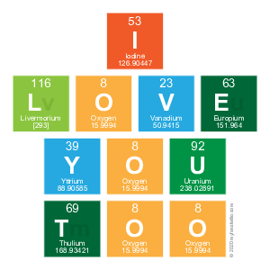I love you too elements of the periodic table writer my fun studio i love you too urtaz Images